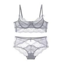 Plus Size Gray Transparent Lace Bra and High Waist Panty Set Lingerie Set - $52.49