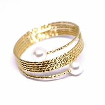Yellow Gold Ring Or White Or Pink 18K, Multi Wires Elastic with Pearls, image 7