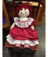 33 Inch Raggedy Ann Doll Red With White Lace Trim Outfit Striped Socks - $18.75