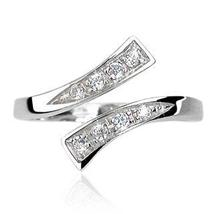 White Gold Plated 925 Silver Round Cut CZ Beautiful Fancy Adjustable Toe... - $9.99