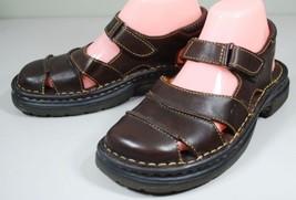 BORN Slingback Fisherman MaryJane Comfort Flats Sandals Closed Toe Brown Leather - $35.64