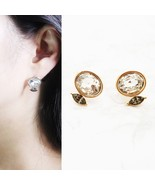 Oval Made With Swarovski Stone Stud Earrings 925 Silver Gold Tone Ear - $23.36