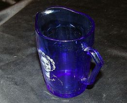 1930's Hazel-Atlas Shirley Temple Cobalt Blue Glass Pitcher AA20-2085 Vintage image 9