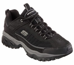 Skechers EW Wide Width Black shoes Men's Sport Casual Soft Leather Sneak... - $49.79