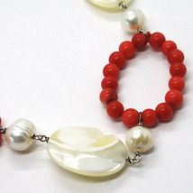 Necklace Silver 925, Circles Coral, Nacre Oval and White Pearls image 3