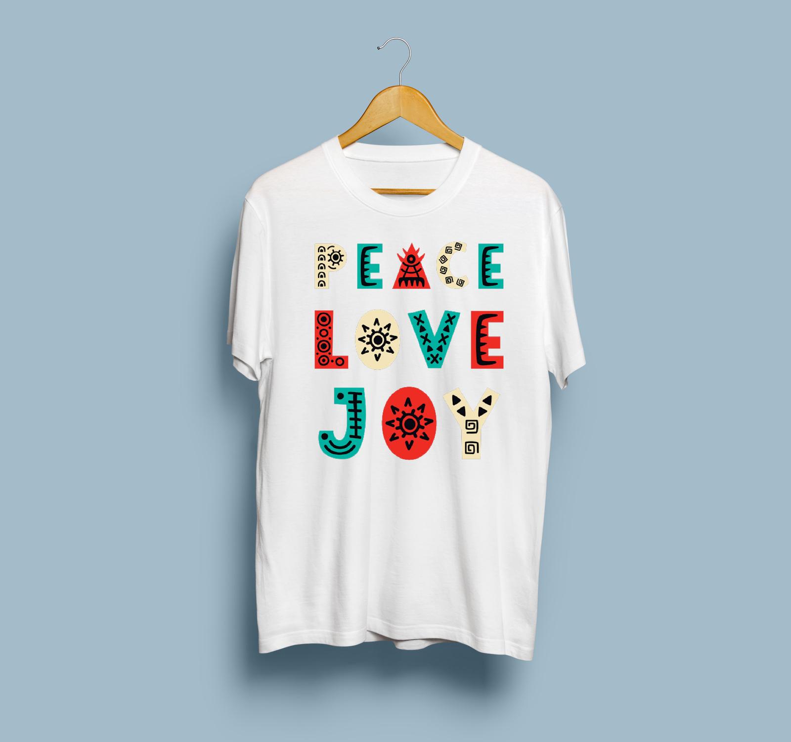 HOT SALE Peace Love Joy Gildan T-Shirt Size S To 2XL Free Shipping image 2
