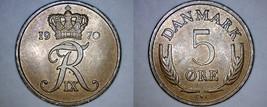 1970 Danish 5 Ore World Coin - Denmark - $3.99