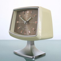 RHYTHM Alarm Clock Mantel Alarm 51136 PEDESTAL Chrome Pedestal RETRO Spa... - $239.00
