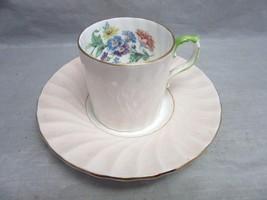 Vintage Aynsley bone china demitasse cup & saucer. Pink, Floral. England - $3.99