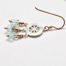 925 Silver Earrings Laminate Rose Gold with Smoky Quartz aquamarines image 5