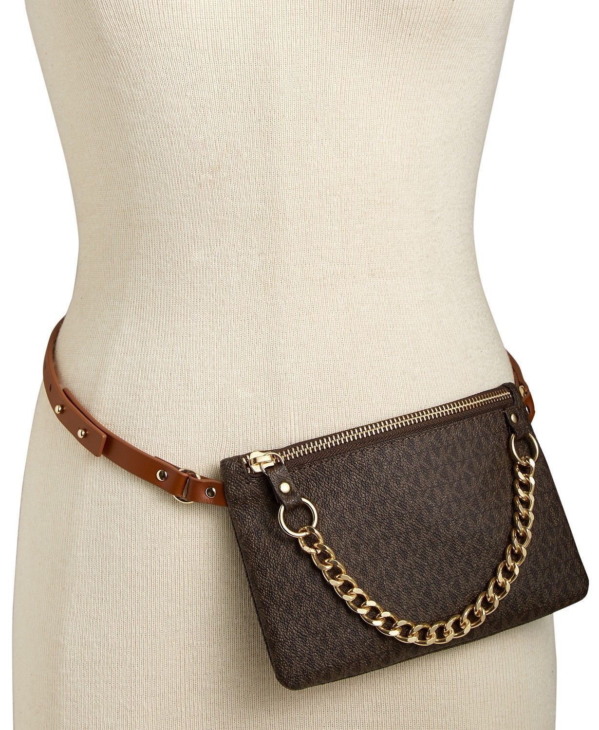c5b1d4651e31ef Michael Kors Signature Logo Fanny Pack Chain Belt Bag Wallet ~NWT Black~