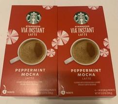 Lot of Starbucks Coffee (8 PACKETS) Via Instant Latte Peppermint Mocha Latte NEW - $37.03