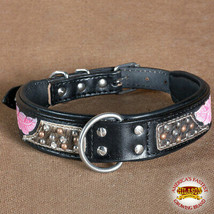 Hilason Heavy Duty Genuine Leather Dog Collar Bling Floral Carving U-C103 - $23.79