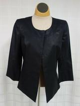 Anne Klein Linen Blazer Jacket Top Closure Womens Sz 2 Black 3/4 Sleeve ... - $28.08