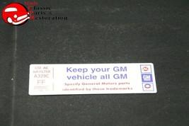"""77 Camaro V6 Air Cl EAN Er """"Keep Your Gm Car All Gm"""" Code """"Ff"""" Decal - $999.99"""