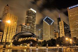 """Chicago Bean """"Sky Gate""""  Skyline Rainny Night     2.5 x 3.5  Fridge MAGNET - $3.99"""