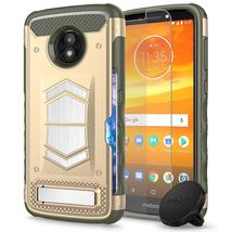 Motorola E5 Play Desert Tan Armor Hybrid Case w/ Magnet Holder Tempered ... - $19.99