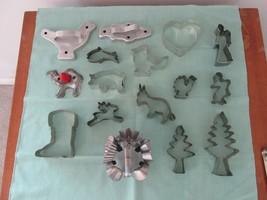 DRGM + 15 Vintage Metal Cookie Canape Pastry Cutters Tin Aluminum Primit... - $39.95