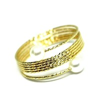 18K YELLOW GOLD MAGICWIRE BAND RING, ELASTIC WORKED MULTI WIRES, PEARLS, SNAKE image 2