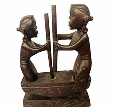 African wood carving women earrings sculpture figurine ivory coast triba... - $62.89