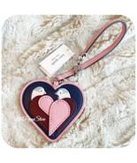 KATE SPADE NEW YORK LOVE BIRD HEART LEATHER CHARM KEY FOB IN BRIGHT CARN... - $24.63