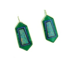 Kaufmann 14k Yellow Gold Genuine Natural Opal Malachite Intarsia Earring... - $1,425.00