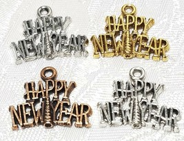 HAPPY NEW YEAR FINE PEWTER PENDANT CHARM - 21x17.5x2mm image 1