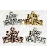 HAPPY NEW YEAR FINE PEWTER PENDANT CHARM - 21x17.5x2mm - $0.99+