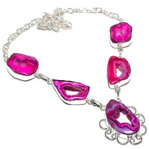 "Pink Window Agate Druzy Gemstone Jewelry Necklace 18"" RN168 - $6.99"