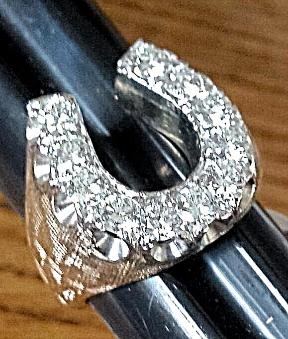 MEN'S TRIPLE CROWN LUCKY_11 DIAMOND HORSESHOE RING~2.18CTW~14K Florentine