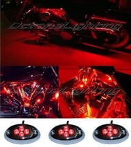 Octane Lighting 3Pc Red Led Chrome Modules Motorcycle Chopper Frame Neon Glow Li - $9.85