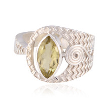 Real Gemstones Marquise Faceted Lemon Quartz ring - 925 Silver Yellow Le... - $14.23