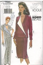 7493 Uncut Vogue-Schnittmuster Misses Rock Lose Passform Wickel-Top Koko... - $6.27