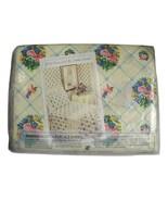 Vintage Full Flat Sheet Atelier Martex Victorian Bouquets Lace Gloria Va... - $19.52