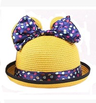 Summer Fashion Sun Hat For Kids With Bowknot Decor&Wave Point Pattern Yellow image 2