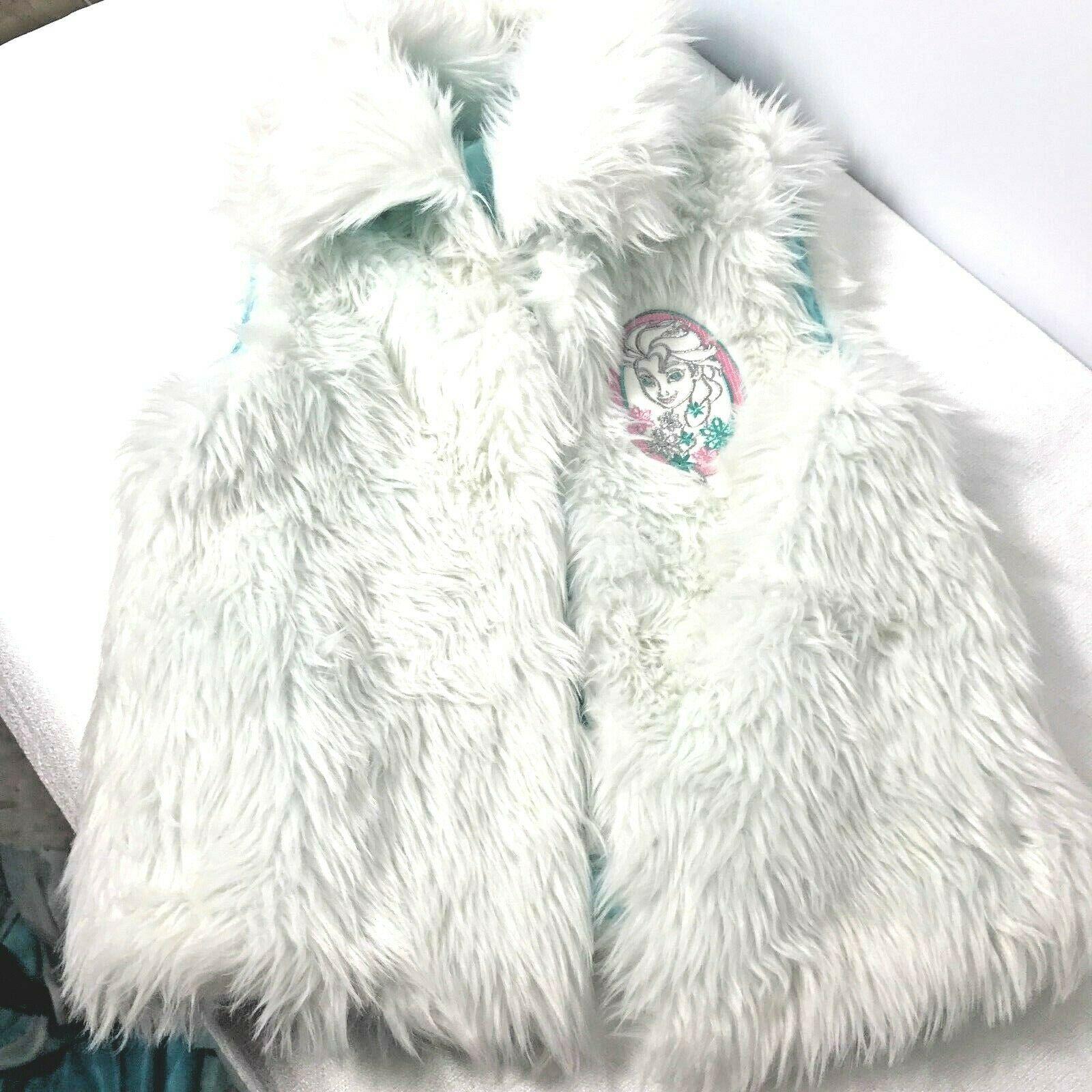 New Girls Disney Frozen Faux Fur Vest Size Medium 7 Costume Top Accent