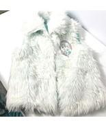 New Girls Disney Frozen Faux Fur Vest Size Medium 7 Costume Top Accent - $9.89