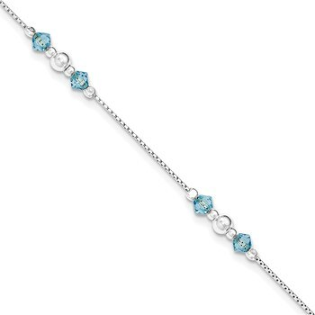 Primary image for Lex & Lu Sterling Silver Polished Bead and CZ Anklet 9""
