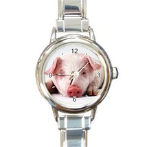 Ladies Round Italian Charm Bracelet Watch Cute Pig Gift model 15461876 - $11.99