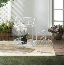 VINTAGE BICYCLE PLANT STAND HOUSE White Iron Cart Garden Decor - $85.24