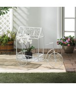VINTAGE BICYCLE PLANT STAND HOUSE White Iron Cart Garden Decor - $85.24