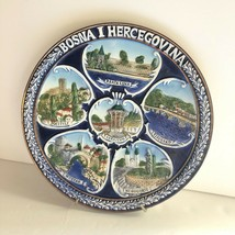 Handmade Wall Plate Bosnia I Hercegovina 6 Cities Relief Images Blue Gol... - $12.47