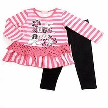 "New girls size 2T Young Hearts pink ""Huggable"" leggings set B559 pants top - $16.99"