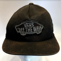 Vans Off The Wall Patch Logo Black Baseball Snapback Hat Distressed (77-7) - $14.69