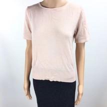 Kate Hill Short Sleeve Knit Top Women's Pink 100% Merino Wool Medium UC ... - $19.79