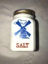 Milk Glass Dutch Windmill Salt Shaker w/ Red Lid Vintage - $24.99