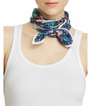 Echo Botanical Print Silk Square Scarf (One Size, Navy) - $37.89