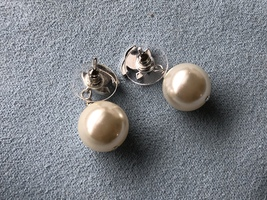 Authentic Chanel Classic Crystal CC Pearl Silver Earrings  image 4