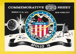 APOLLO 16 COMMEMORATIVE SHEET INTERPEX NEW YORK, NY MARCH 17-19 1972  - $3.98