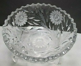 Hand Cut Glass bowl Antique blown blank - $27.12